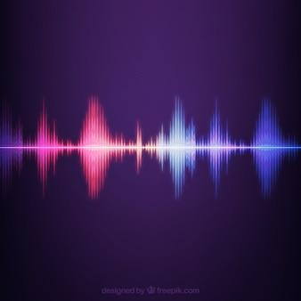 Gestreepte achtergrond met gekleurde geluidsgolf