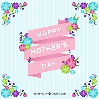 Gestreepte achtergrond met roze lint en gekleurde bloemen voor moederdag
