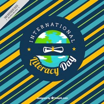Gestreepte achtergrond van de internationale dag van alfabetisering
