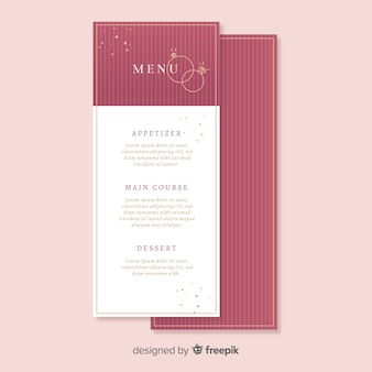 Gestreepte bruiloft menusjabloon