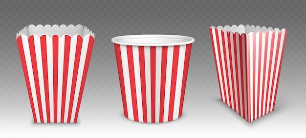 Gestreepte emmer voor popcorn, kippenvleugels of poten mockup geïsoleerd op transparant