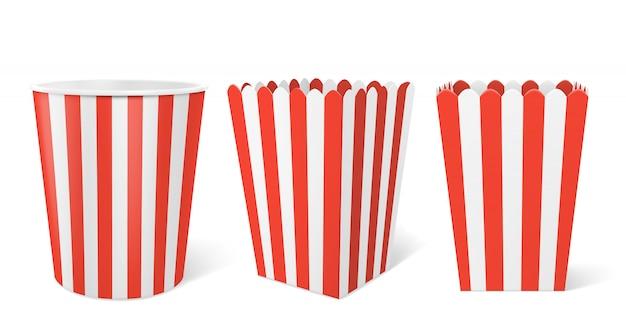 Gestreepte kartonnen doos voor popcorn in de bioscoop