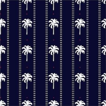 Gestreepte palmboom met streepjeslijn en kleine rode stippen naadloos patroon zomerse vibes, ontwerp voor mode, stof, behang en alle prints
