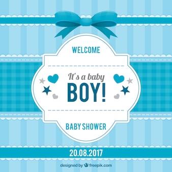 Gestreepte uitnodiging van de babydouche in blauwe tinten