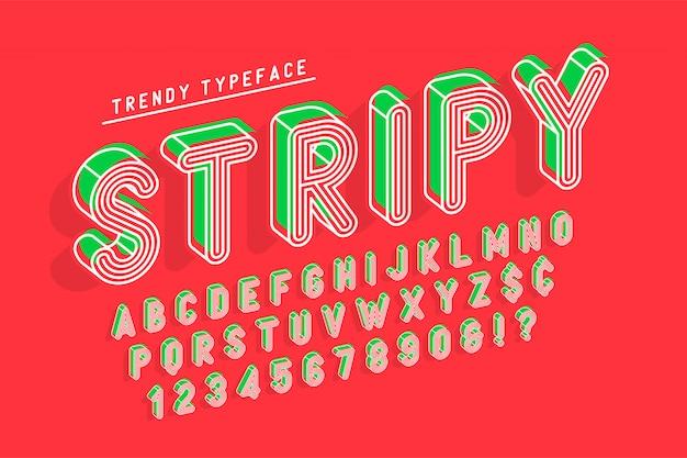 Gestreepte weergave lettertype popart-ontwerp