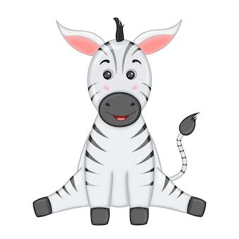 Gestreepte zebra zit benen uit elkaar en glimlacht