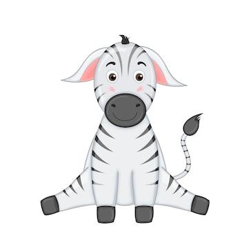 Gestreepte zebra zit benen uit elkaar en glimlacht.