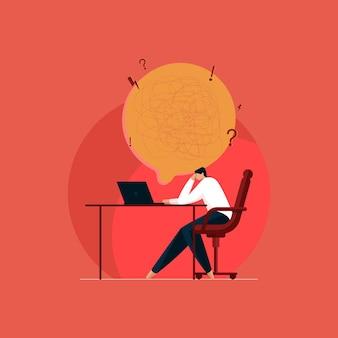 Gestresste en uitgeputte zakenman met overbelasting van het werk verwarde persoon die een oplossing probeert te vinden
