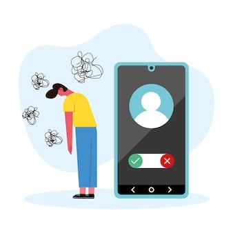 Gestresste man en smartphone