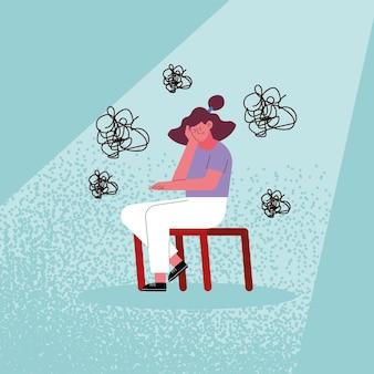 Gestresste vrouw cartoon op stoel