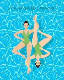 Gesynchroniseerde zwemmers. synchroon zwemmen banners watersport.