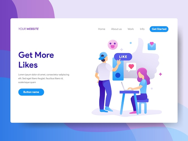 Get more likes illustration on homepage
