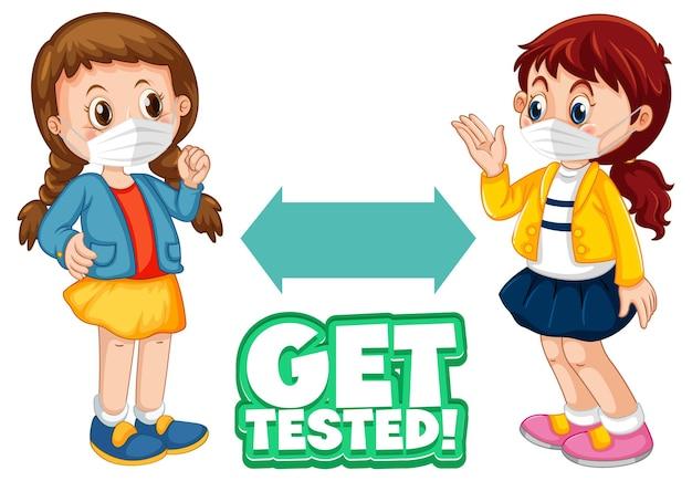 Get tested-lettertype in cartoonstijl met twee kinderen die sociale afstand houden op wit wordt geïsoleerd
