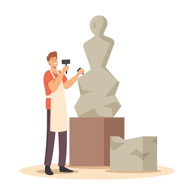 Getalenteerde jonge man beeldhouwer bezig met beeldhouwkunst maken van figuur van steen of marmer. ambachtelijke hobby en creatief beroep. kunstenaar carver artistieke hobby of baan. cartoon vectorillustratie