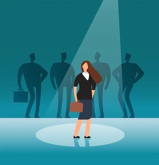 Getalenteerde onderneemster die zich in zoeklicht bevindt. rekrutering, het inhuren, carrière en banenkansen vectorconcept