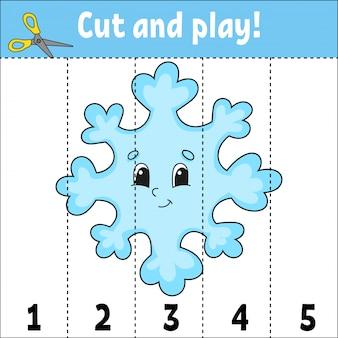 Getallen leren. knip en speel. onderwijs ontwikkelt werkblad. spel voor kinderen. activiteitspagina. puzzel voor kinderen. raadsel voor kleuterschool.