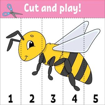 Getallen leren. knip en speel. onderwijs ontwikkelt werkblad. spel voor kinderen. activiteitspagina.