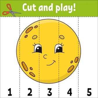 Getallen leren. knippen en spelen. werkblad voor het ontwikkelen van onderwijs. spel voor kinderen. activiteitenpagina.