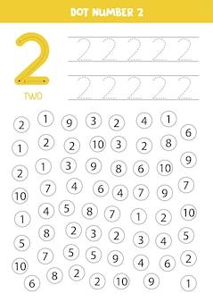 Getallen leren met kinderen. nummer twee. punt alle nummers 2. rekenspel voor kinderen.