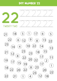 Getallen leren met kinderen. nummer tweeëntwintig. stip alle cijfers 22. rekenspel voor kinderen.