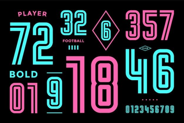 Getallen lettertype. sport lettertype met cijfers en numeriek. geometrische vetgedrukte cijfers. sterk industrieel inline sportlettertype voor ontwerp, creatieve typografie, poster.