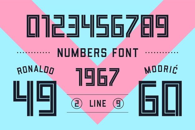 Getallen lettertype. sport lettertype met cijfers en numeriek.