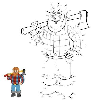 Getallenspel, onderwijs van punt naar punt spel voor kinderen, houthakker