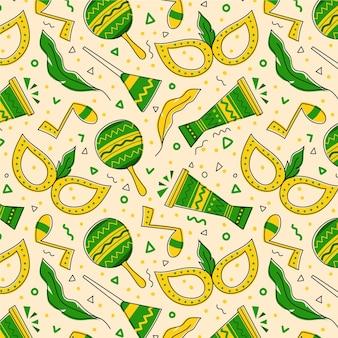 Getekend braziliaans carnaval-patroon