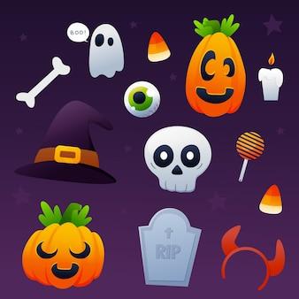 Getekend halloween-elementenpakket