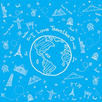 Getekend wereld met reizen elementen