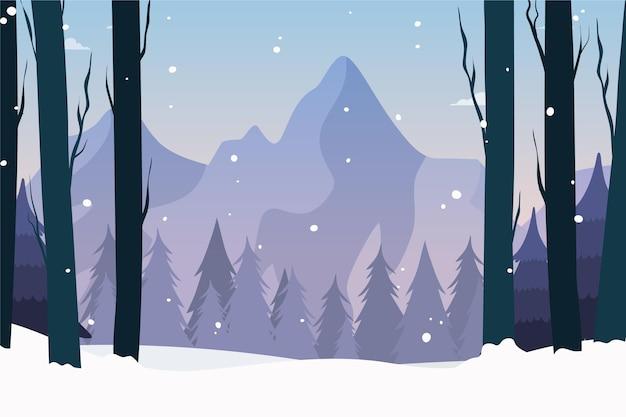 Getekend winterlandschap behang