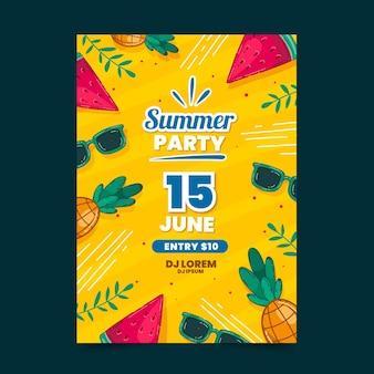 Getekend zomerfeest poster sjabloonontwerp