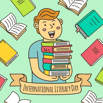 Getekende alfabetiseringsdag illustratie met jongen met een heleboel boeken