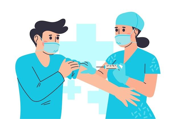 Getekende arts vaccin injecteren aan een patiënt