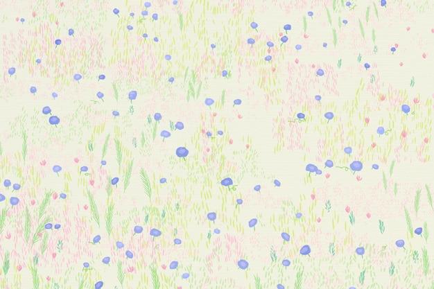 Getekende bloem veld achtergrond vogelperspectief