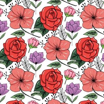 Getekende bloemenprint op felle kleurenachtergrond
