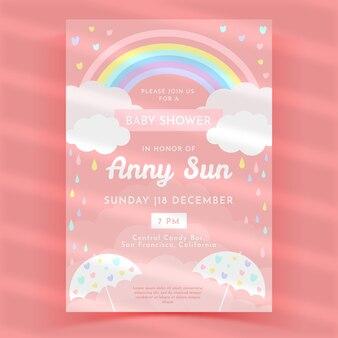 Getekende chuva de amor baby shower uitnodiging sjabloon