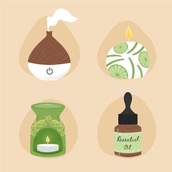 Getekende collectie aromatherapie-elementen