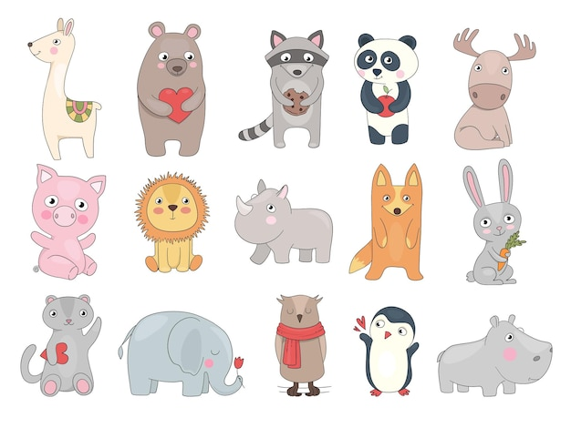 Getekende dieren. leuke illustratie van grappige wilde dieren teddybeer krokodil speelgoed voor kinderen vector set. illustratie dierlijk beeldverhaal, gelukkige leeuw en panda, konijn en nijlpaard