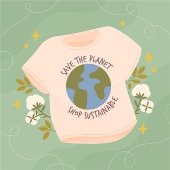 Getekende duurzame mode-illustratie met platte hand met t-shirt