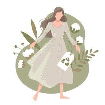 Getekende duurzame mode-illustratie met platte hand met vrouw en katoen