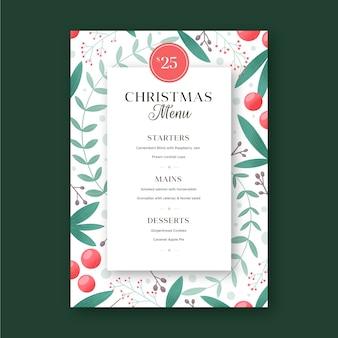 Getekende feestelijke kerstrestaurant menusjabloon