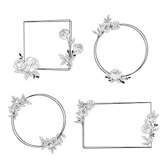 Getekende floral frame-collectie