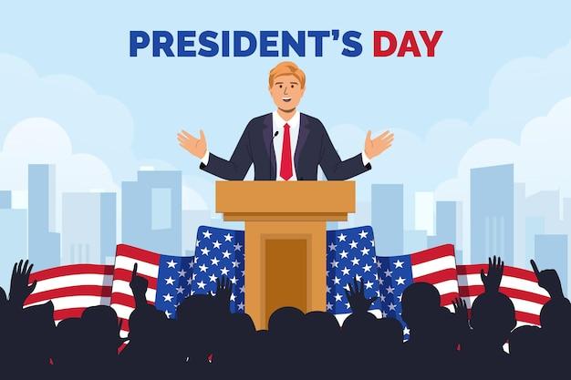 Getekende geïllustreerde promo van de presidentendag