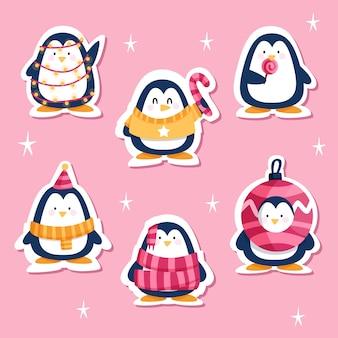 Getekende grappige sticker set met pinguïns