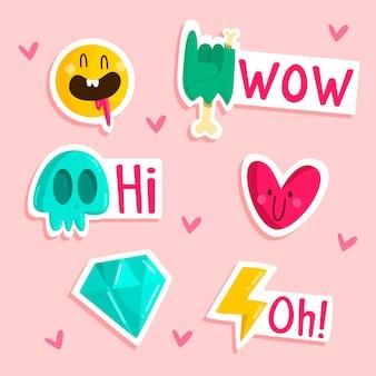 Getekende grappige sticker set