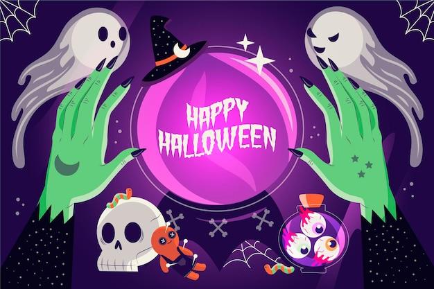 Getekende halloween-achtergrond met griezelige karakters