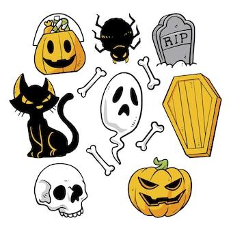 Getekende halloween-elementen instellen