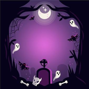 Getekende halloween frame met begraafplaats
