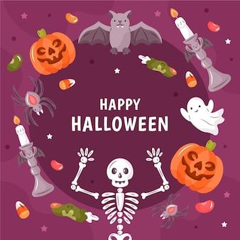Getekende halloween frame met enge elementen